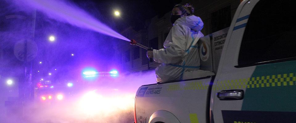 Operativos de desinfección en distintos puntos de la ciudad