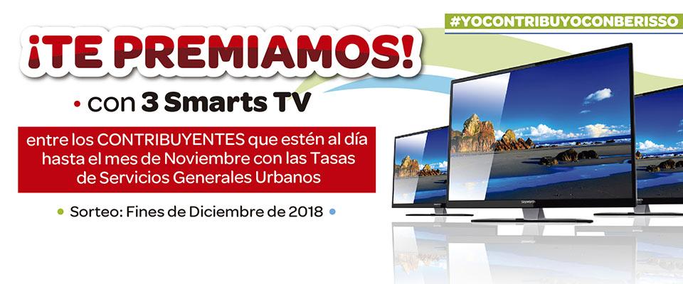 El Municipio premiará con Smart TV a vecinos que estén al día con el pago de la Tasa por Servicios Generales Urbanos