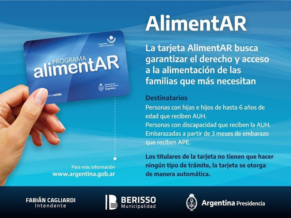 Mañana comienza el operativo de entrega de la tarjeta AlimentAR